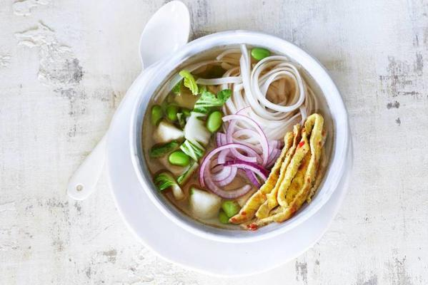 noodle meal soup with bok choy and soy beans