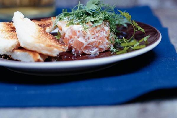 salmon tartare with herb salad