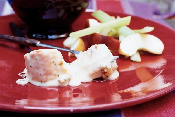 cheese fondue with walnuts