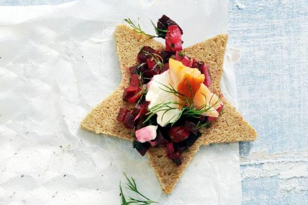 rye canape with salmon and sweet-sour beet