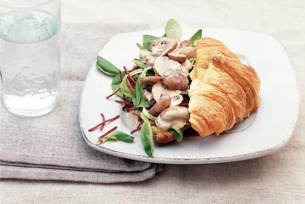 croissant with chestnut mushrooms