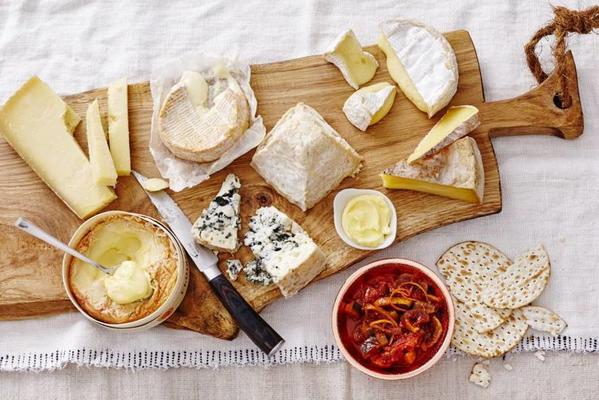 cheese board with homemade fig-orange chutney