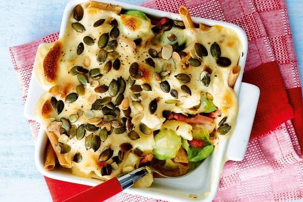casserole with autumn vegetables and creamy cheese sauce