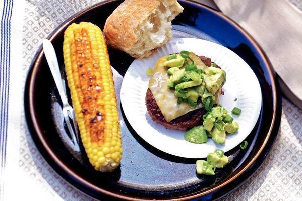 hamburgers with avocado salsa