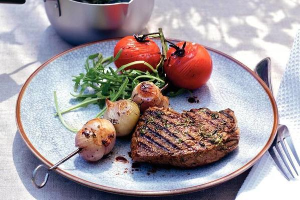 steak with scallop skewers