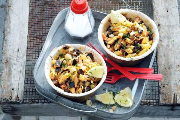 pasta salad with eggplant and macadamia mix
