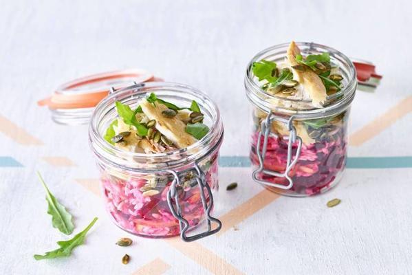 risotto salad with mackerel, beetroot and arugula