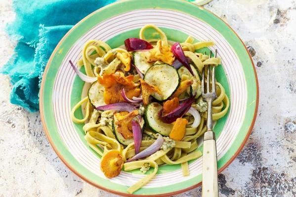 tagliatelle with chanterelles, onion and zucchini