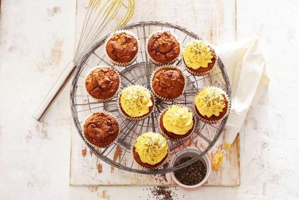 pumpkin muffins with chia seeds and maple syrup
