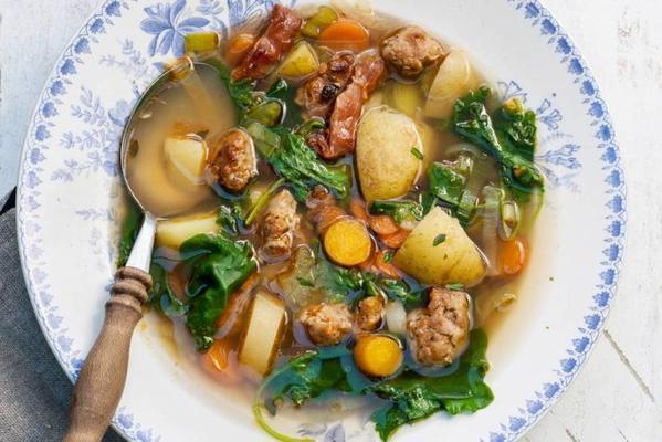 tough vegetable soup with potato and sausage