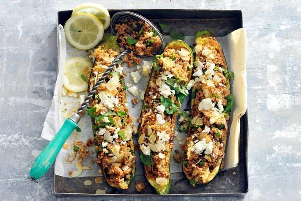 stuffed courgettes with couscous and almonds