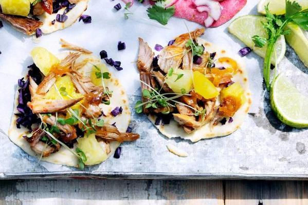tortillas with pork, cabbage and pineapple