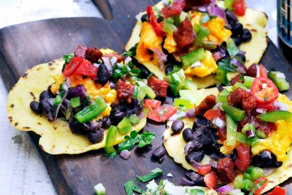 tortillas with black beans, egg and chorizo