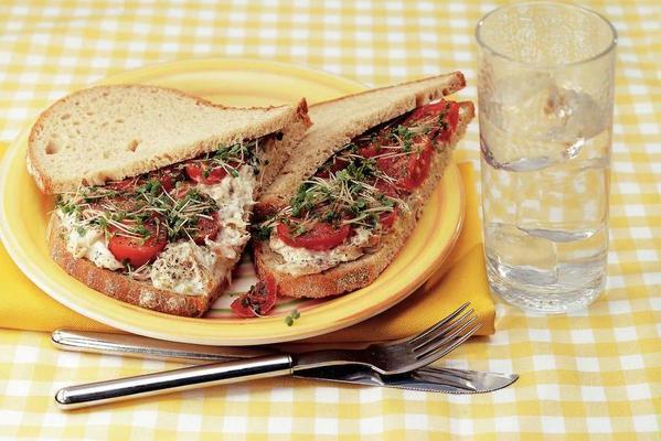 sourdough sandwich with mackerel salad