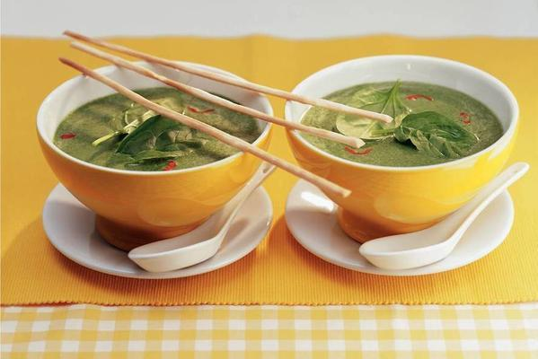 oriental spinach soup with coconut milk