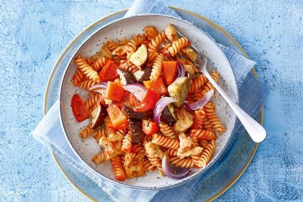 fusilli with spicy chicken sausage and ratatouille from the oven