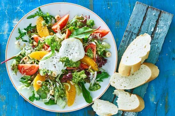 mixed salad with burrata