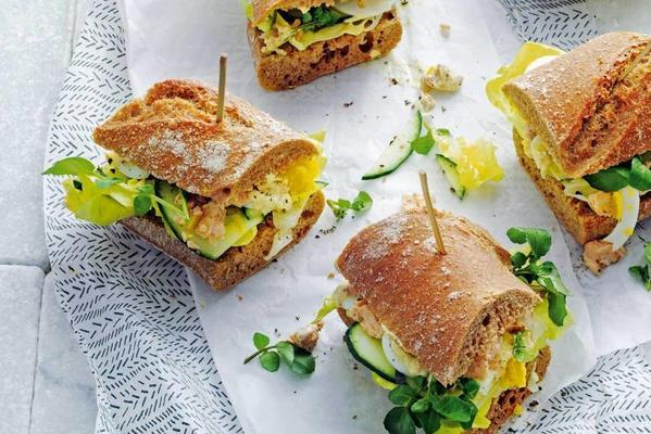 baguette healthy with salmon and watercress