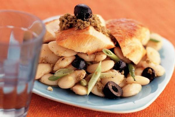 corn chicken fillet with butter beans and tapenade