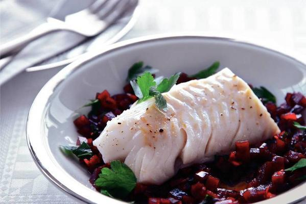 cod with beet dressing