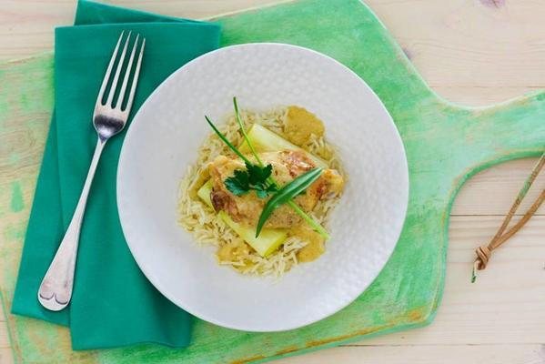 alain carons chicken with mustard-ginger sauce, pilav rice and stewed leeks