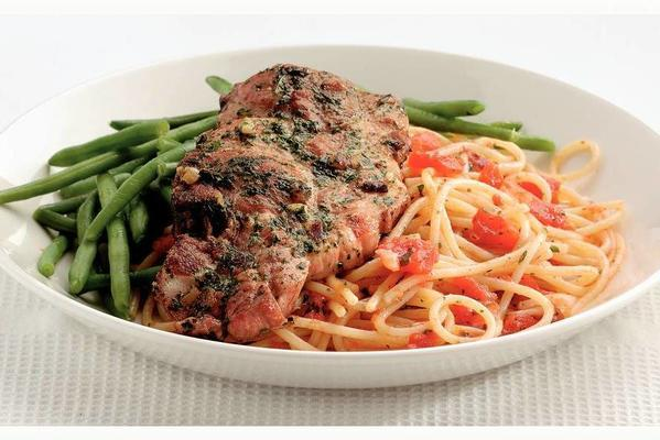 Italian pork chops with spaghetti