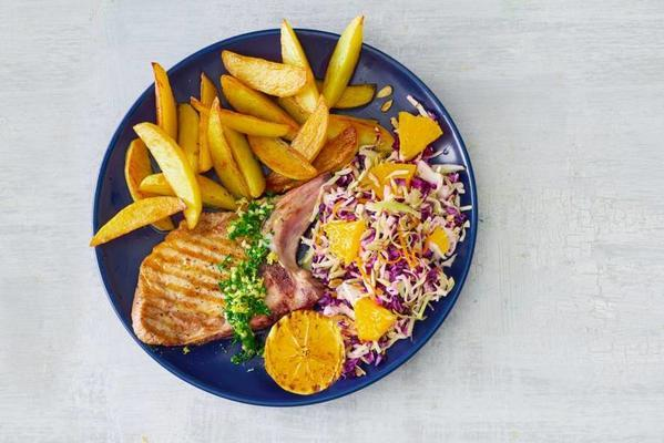 chop from the grill with fresh coleslaw