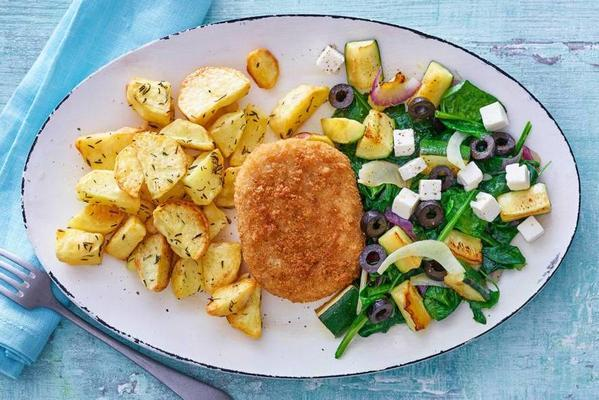 cod burger with Mediterranean vegetables