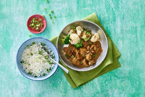 Indian curry with steak tips