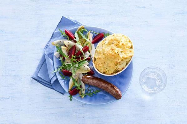 potato gratin and chicory beetroot salad with beef sausage