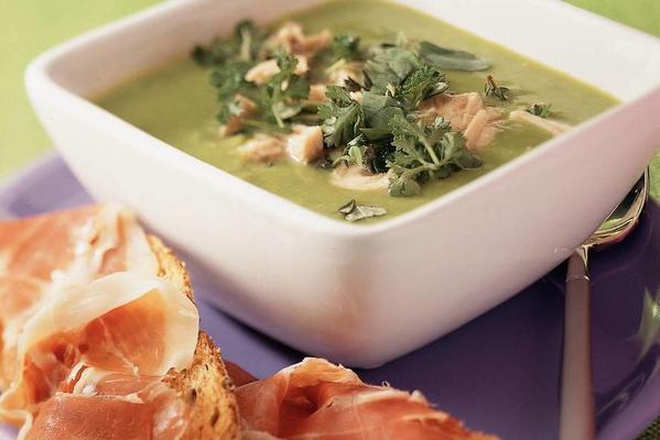 summery pea soup with parma ham bruschetta