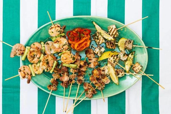 grilled fish skewers with gremolata