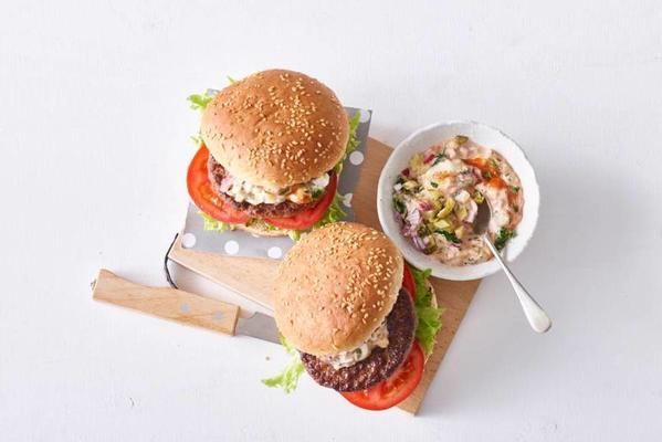 burger with spicy sauce