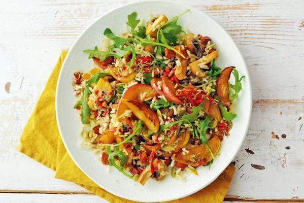 nut rice salad with apple, chorizo and mushrooms