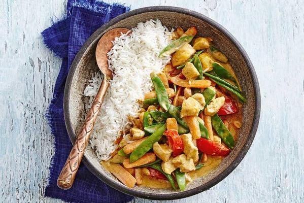 Indian chicken curry with vegetables and basmati rice