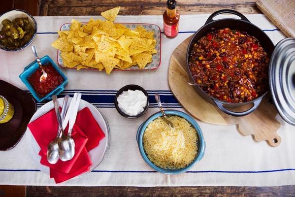 mexican chili of two types of beans with chips
