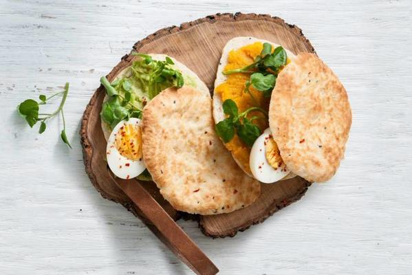 naan with pumpkin spread or spicy avocado and egg