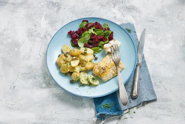 cod, spicy potatoes and beetroot salad