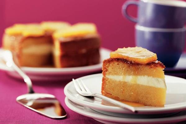 orange pie with cardamom syrup