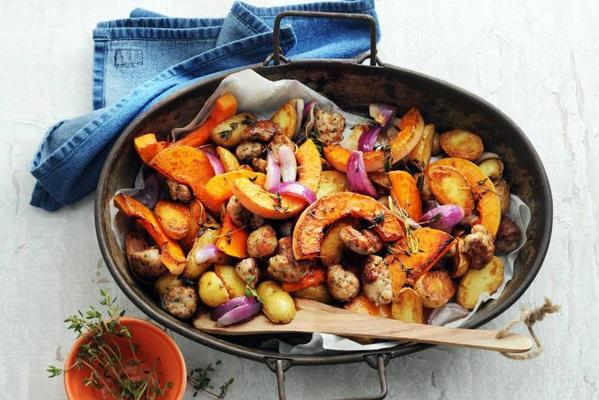 pumpkin, potato, red onion and sausage from the oven