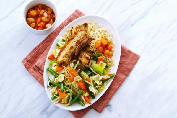 crispy bacon patties and wok vegetables with sweet and sour sauce
