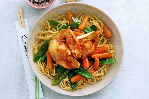 noodles with chicken and vegetables from the oven