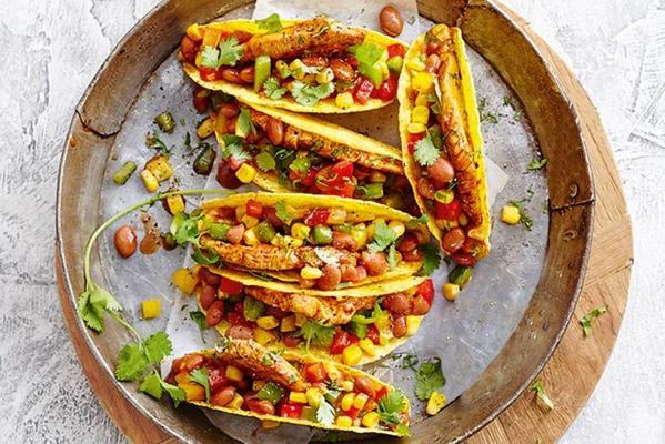 tacos with marinated turkey and bean salad