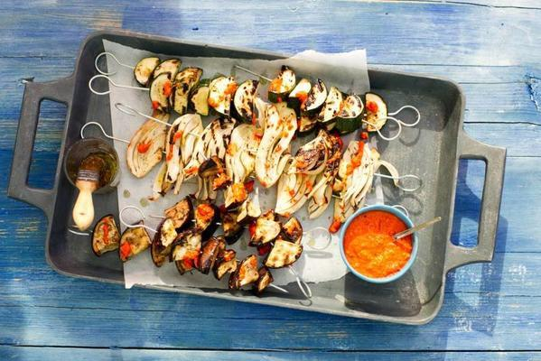 fennel, eggplant and zucchini skewers with thyme oil