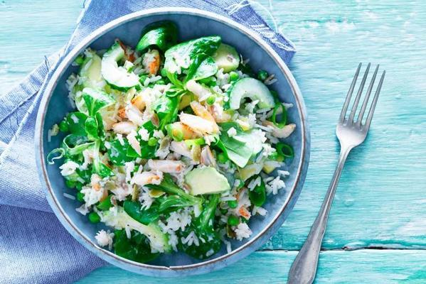 asian rice salad with crab