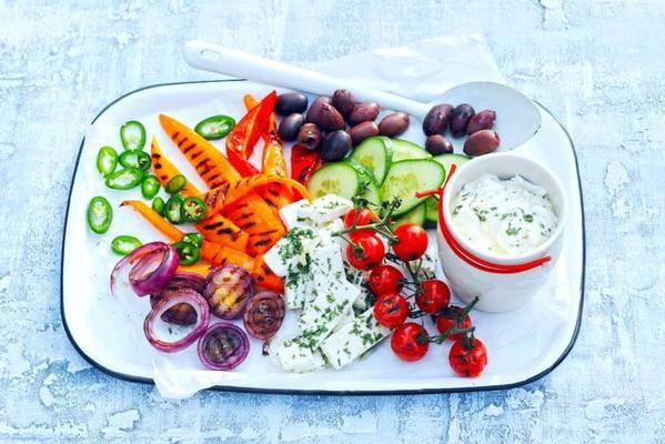 Greek salad with yoghurt dressing