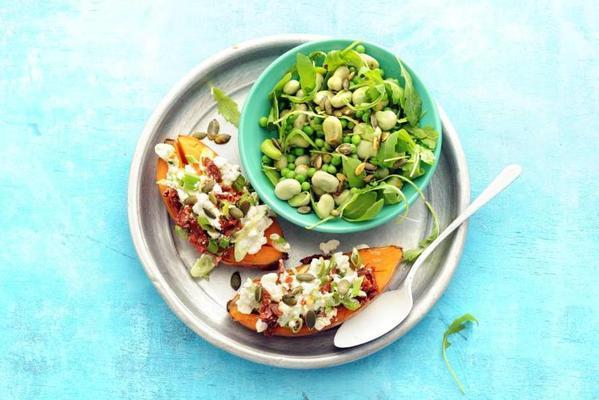 puffed sweet potato with hüttenkäse and green salad