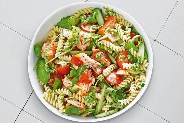summery pasta salad with salmon