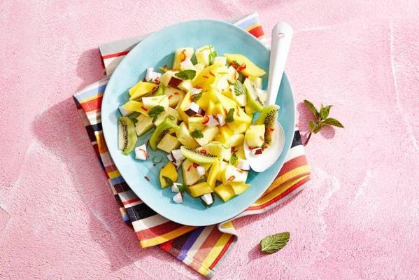 tropical fruit salad with red pepper and mint