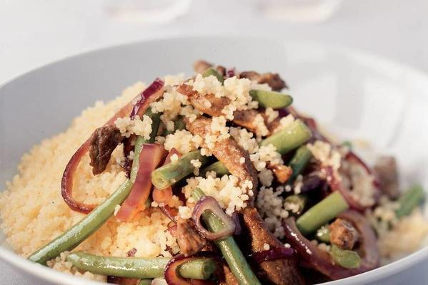 couscous with shawarma and green beans